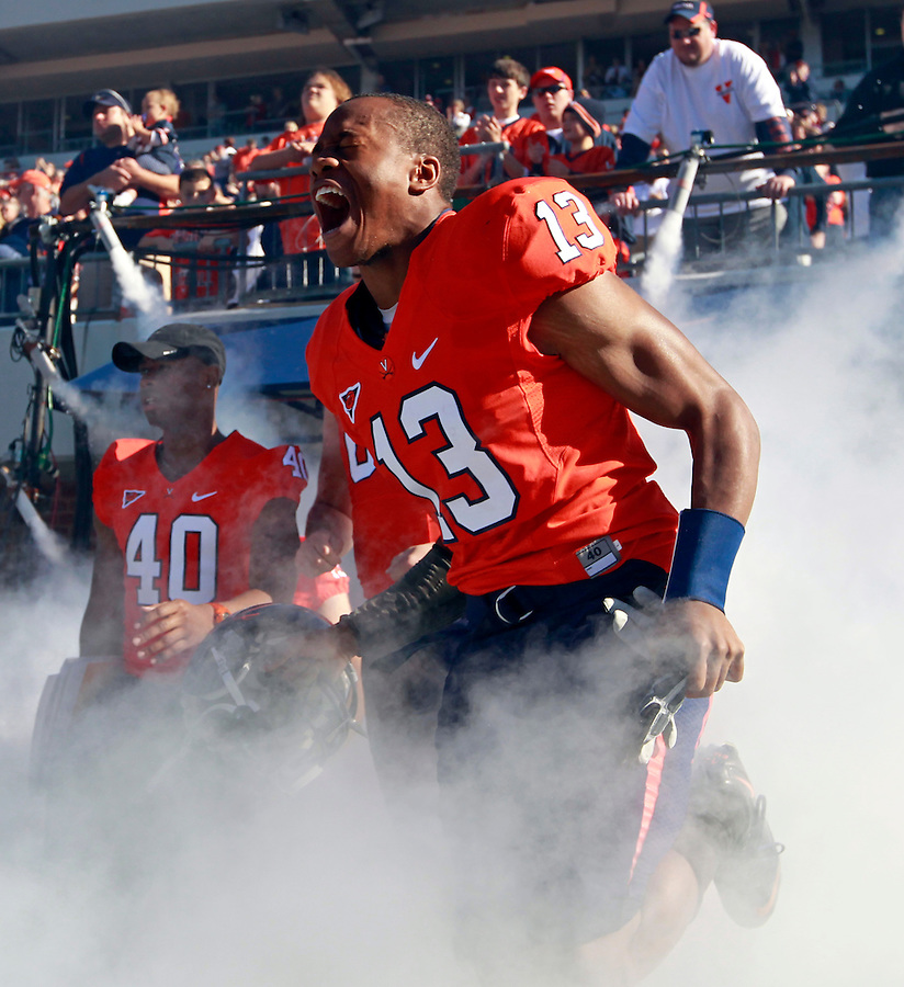 Oct. 15, 2011-Charlottesville, VA. USA- Virginia Cavaliers cornerback Chase Minnifield (13) runs onto the field before the start of an ACC football game against Georgia Tech at Scott Stadium. Virginia won 24-21. (Credit Image: © Andrew Shurtleff