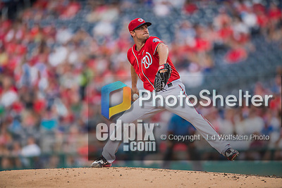23 July 2016: Washington Nationals starting pitcher Max Scherzer on the mound against the San Diego Padres at Nationals Park in Washington, DC. The Nationals defeated the Padres 3-2 on a Stephen Drew pinch-hit, walk-off triple in the bottom of the 9th inning to tie their series at one game apiece. Mandatory Credit: Ed Wolfstein Photo *** RAW (NEF) Image File Available ***