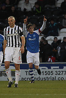 Murray Davidson acknowledges the away support after scoring in the St Mirren v St Johnstone Clydesdale Bank Scottish Premier League match played at St Mirren Park, Paisley on 8.12.12.