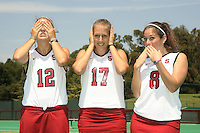 STANFORD, CA - AUGUST 14:   Bailey Richardson (12), Chloe Bade (17), and Hillary Braun (8) of the Stanford Cardinal during picture day on August 14, 2008 at the Varsity Turf Field in Stanford, California.