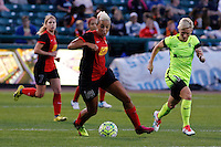 Rochester, NY - Saturday July 09, 2016: Western New York Flash midfielder Lianne Sanderson (10), Seattle Reign FC midfielder Jessica Fishlock (10) during a regular season National Women's Soccer League (NWSL) match between the Western New York Flash and the Seattle Reign FC at Frontier Field.