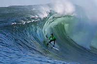 Half Moon Bay - Ca, Sunday, January 20, 2013: Shawn Dollar  competes during the 2013 Mavericks Invitational..