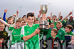 Captain  Eric Daly hold the Jimmy Cotter Cup high as Ballyduff  U-14 Hurlers celebrate their win over Ballyheigue at the Hurling feile Final 2015 in Abbeydorney on Monday