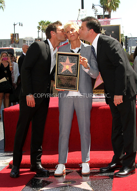 WWW.ACEPIXS.COM....US SALES ONLY....September 4, 2012, Los Angeles, CA.....Ellen DeGeneres with Ryan Seacrest and Jimmy Kimmel as she receives a star onThe Hollywood Walk of Fame on September 4, 2012 in Los Angeles, CA.........By Line: Famous/ACE Pictures....ACE Pictures, Inc..Tel: 646 769 0430..Email: info@acepixs.com