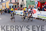 The Tralee cyclist burst for the line during the final the stage of Ras Mumhan in Killorglin on Monday