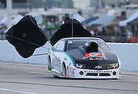 Apr. 26, 2013; Baytown, TX, USA: NHRA pro stock driver Erica Enders-Stevens during qualifying for the Spring Nationals at Royal Purple Raceway. Mandatory Credit: Mark J. Rebilas-