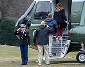 United States President Donald J. Trump salutes the Marine Guard as he, First lady Melania Trump and Barron President Donald J. Trump board Marine One to depart the White House in Washington, DC on Friday, March 8, 2019.  The President will travel to Alabama to see the damage from the tornados earlier in the week before continuing to Florida to spend the weekend at his Mar-a-Lago resort.<br /> Credit: Ron Sachs / CNP