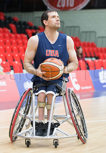 03.07.2016. Leicester Sports Arena, Leicester, England. Continental Clash Wheelchair Basketball, USA versus Japan.  Josh Turek (USA) in possession of the ball
