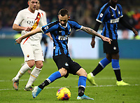 Calcio, Serie A: Inter Milano - AS Roma, Giuseppe Meazza stadium, December 6, 2019.<br /> Inter's Marcelo Brozovic in action during the Italian Serie A football match between Inter and Roma at Giuseppe Meazza (San Siro) stadium, on December 6, 2019.<br /> UPDATE IMAGES PRESS/Isabella Bonotto