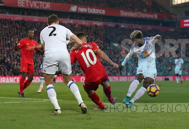 The incident where Philippe Coutinho of Liverpool injures his foot during the Premier League match at the Anfield Stadium, Liverpool. Picture date: November 26th, 2016. Pic Simon Bellis/Sportimage