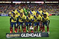 Glendale, AZ - Wednesday June 08, 2016: Ecuador Starting Eleven during a Copa America Centenario Group B match between Ecuador (ECU) and Peru (PER) at University of Phoenix Stadium.