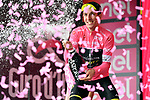 Race leader Simon Yates (GBR) Mitchelton-Scott retains the Maglia Rosa on the podium at the end of Stage 8 of the 2018 Giro d'Italia, running 209km from Praia a Mare to Montevergine di Mercogliano, Italy. 12th May 2018.<br /> Picture: LaPresse/Massimo Paolone | Cyclefile<br /> <br /> <br /> All photos usage must carry mandatory copyright credit (&copy; Cyclefile | LaPresse/Massimo Paolone)