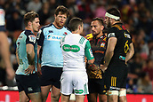 June 3rd 2017, FMG Stadium, Waikato, Hamilton, New Zealand; Super Rugby; Chiefs versus Waratahs;  Match Referee Paul Williams issues a yellow card to Waratahs reserve Paddy Ryan (M) and Chiefs flanker Mitchell Brown (R) during the Super Rugby rugby match