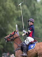 Apichet Srivaddhanaprabha (King Power) after hitting the winning goal during the Cartier Trophy Final match between King Power and Salkeld at the Guards Polo Club, Windsor, Smith's Lawn, England on 14 June 2015. Photo by Andy Rowland.