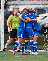 Boston Breakers forward Katie Schoepfer (2), Boston Breakers forward Kyah Simon (17) and Boston Breakers defender Julie King (8) celebrate Kyah Simon's goal as Chicago Red Stars goalkeeper Jamie Forbes (1) looks on.  The Boston Breakers beat the Chicago Red Stars 1-0 at Dilboy Stadium.