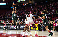 COLLEGE PARK, MD - FEBRUARY 03: Nia Clouden #24 of Michigan State tries a long range shot during a game between Michigan State and Maryland at Xfinity Center on February 03, 2020 in College Park, Maryland.
