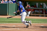 Jimmy Allen (16) of the Ogden Raptors at bat against the Idaho Falls Chukars in Pioneer League action at Lindquist Field on July 27, 2014 in Ogden, Utah.  (Stephen Smith/Four Seam Images)