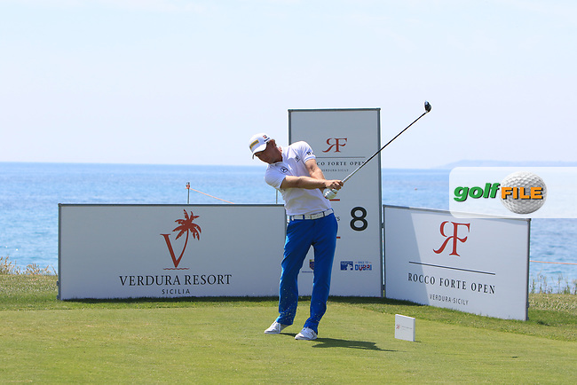 Marcel Siem (GER) on the 8th tee during Round 1 of The Rocco Forte Open  at Verdura Golf Club on Thursday 18th May 2017.<br /> Photo: Golffile / Thos Caffrey.<br /> <br /> All photo usage must carry mandatory copyright credit     (&copy; Golffile | Thos Caffrey)