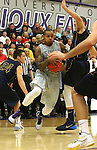 SIOUX FALLS, SD - JANUARY 2:  Charles Ward #22 from the University of Sioux Falls drives against Jordan Spencer #31 from Augustana in the first half of their game Friday night at the Stewart Center. (Photo by Dave Eggen/Inertia)