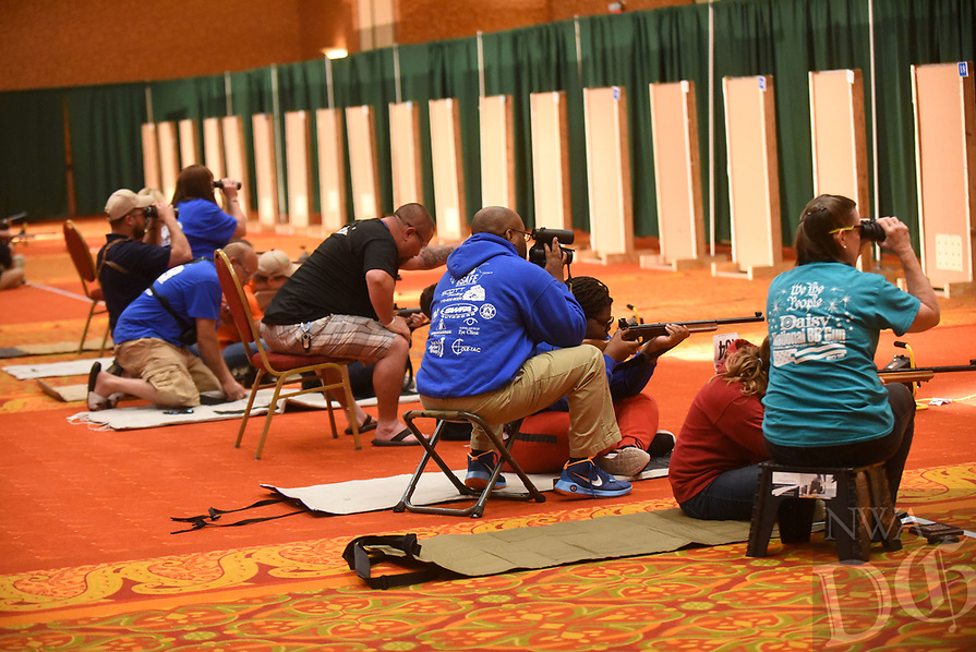 NWA Democrat-Gazette/FLIP PUTTHOFF <br /> AIR GUN CHAMPOINSHIP<br /> Youth air gun shooters compete Saturday July 6 2019 at the annual Daisy National BB Gun Championships in Rogers. Some 450  youths age 8 to 15 from around the United States qualified for the championship held at the John Q. Hammons Center. The competition has been held since 1966.