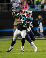 The Carolina Panthers play the New England Patriots at Bank of America Stadium in Charlotte North Carolina on Monday Night Football.  The Panthers defeated the Patriots 24-20.  Carolina Panthers wide receiver Steve Smith (89) catches a 42 yard reception over New England Patriots cornerback Aqib Talib (31)