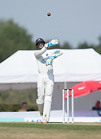 John Simpson of Middlesex  returns the ball to the bowler during Middlesex CCC vs Hampshire CCC, Bob Willis Trophy Cricket at Radlett Cricket Club on 11th August 2020