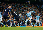Bernardo Silva of Manchester City takes a shot during the Premier League match at the Eithad Stadium, Manchester. Picture date 21st August 2017. Picture credit should read: Simon Bellis/Sportimage