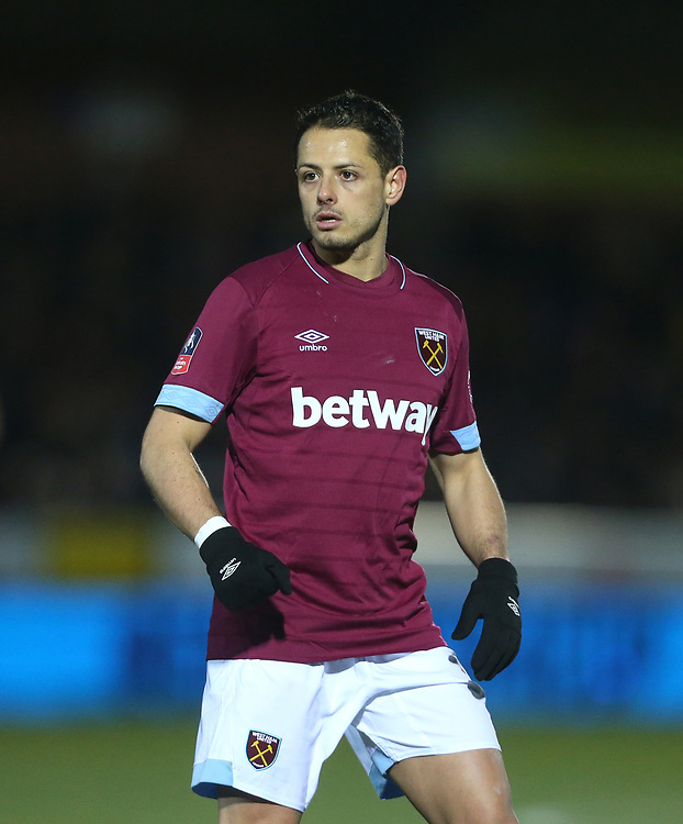 West Ham United's Javier Hernandez<br /> <br /> Photographer Rob Newell/CameraSport<br /> <br /> Emirates FA Cup Fourth Round - AFC Wimbledon v West Ham United - Saturday 26th January 2019 - Kingsmeadow Stadium - London<br />  <br /> World Copyright © 2019 CameraSport. All rights reserved. 43 Linden Ave. Countesthorpe. Leicester. England. LE8 5PG - Tel: +44 (0) 116 277 4147 - admin@camerasport.com - www.camerasport.com
