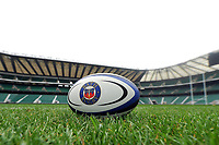 "A general view of a Bath Rugby branded rugby ball at Twickenham Stadium. Bath Rugby Photocall for ""The Clash"" on March 16, 2017 at Twickenham Stadium in London, England. Photo by: Patrick Khachfe / Onside Images"