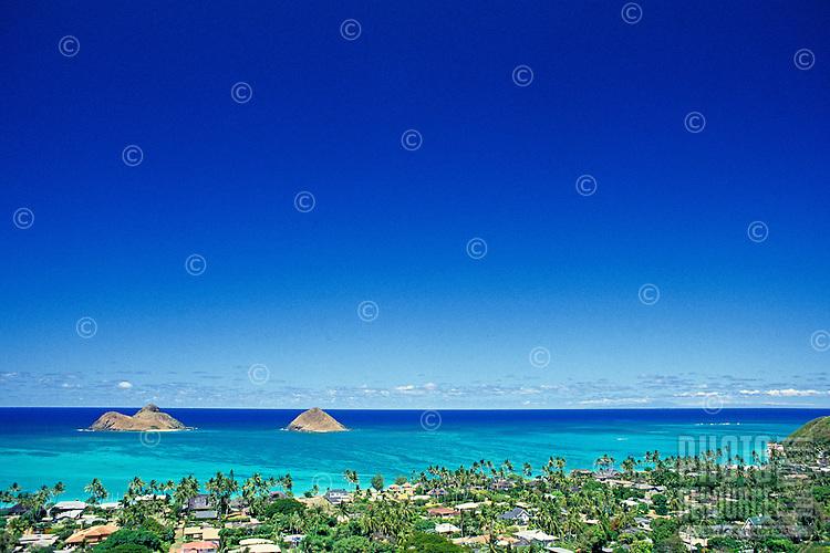 View of Mokulua Islands from Lanikai ridge