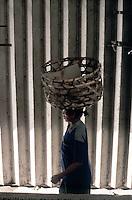 Woman with Basket on Head - Ubud Market, Bali, Indonesia