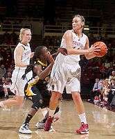 Long Beach State's Chantel Dockey, guards Stanford\'s Joslyn Tinkle during  Saturday, November 25, 2012 game at Stanford against Long Beach State.. Stanford won 77-41.