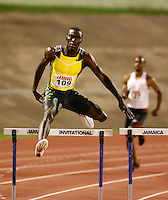 Kerron Clement winning 400m hurdles in a World Leading time of 47.79sec. at the Jamaica International Invitational Meet on Saturday, May 3rd. 2008. Photo by Errol Anderson, The Sporting Image.