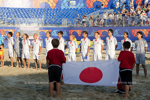 Japan team group line up, SEPTEMBER 06, 2011 - Beach Soccer : FIFA Beach Soccer World Cup Ravenna-Italy 2011 Group D match between Brazil 3-2 Japan at Stadio del Mare, Marina di Ravenna, Italy, (Photo by Enrico Calderoni/AFLO SPORT) [0391]