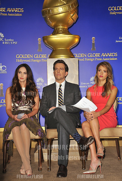 Megan Fox (left), Ed Helms & Jessica Alba announce the nominations for the 70th Annual Golden Globe Awards at the Beverly Hilton Hotel..December 13, 2012  Beverly Hills, CA.Picture: Paul Smith / Featureflash