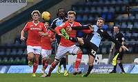Jason McCarthy of Wycombe stretches to clear the ball away during the Sky Bet League 2 match between Wycombe Wanderers and Luton Town at Adams Park, High Wycombe, England on 6 February 2016. Photo by Liam Smith.