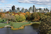 The East Side of Manhattan and Turtle Pond as seen from the Castle in New York's Central Park.