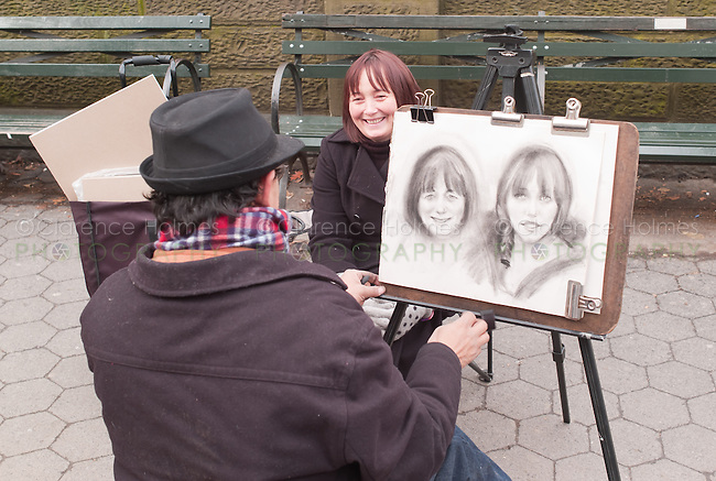 Charcoal sketch artist at work near Central Park in New York City