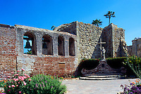 Mission San Juan Capistrano, San Juan Capistrano, California, USA - the Campanario (Bell Wall) and the Great Stone Church - Historic Landmark founded 1776
