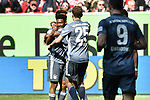 14.04.2019, Merkur Spiel-Arena, Duesseldorf, GER, DFL, 1. BL, Fortuna Duesseldorf vs FC Bayern Muenchen, DFL regulations prohibit any use of photographs as image sequences and/or quasi-video<br /> <br /> im Bild Kingsley Coman (#29, FC Bayern M&uuml;nchen / Muenchen) David Alaba (#27, FC Bayern M&uuml;nchen / Muenchen) Jubel / Freude / Emotion / Torjubel / Torschuetze zum 0:1 mit Torschuetze Thomas M&uuml;ller / Mueller (#25, FC Bayern M&uuml;nchen / Muenchen)