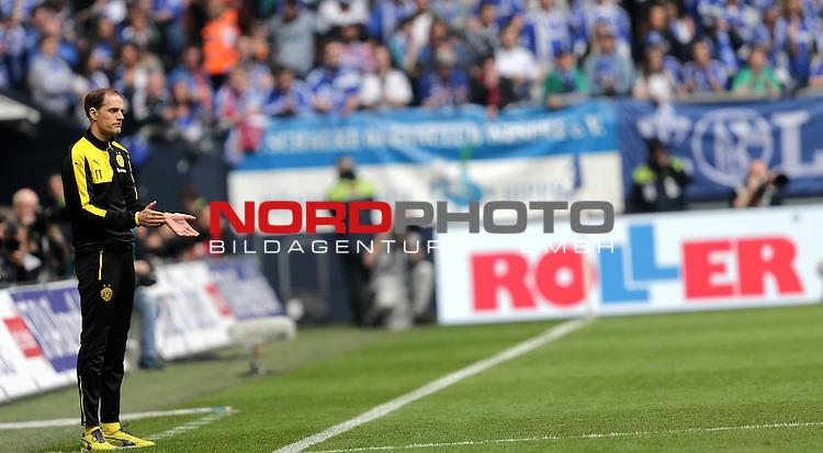10.04.2016, Veltins Arena, Gelsenkirchen, GER, 1.FBL, FC Schalke 04 vs Borussia Dortmund<br /> Trainer Thomas Tuchel (Dortmund)<br /> <br /> <br /> Foto &copy; nordphoto /  Bratic