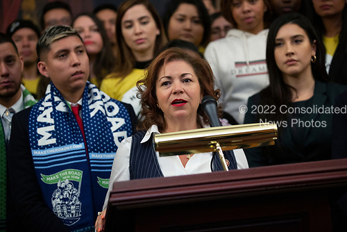 United States Representative Linda Sanchez (Democrat of California), joined by other Democratic lawmakers, speaks during a press conference on the Deferred Action for Childhood Arrivals program on Capitol Hill in Washington D.C., U.S. on Tuesday, November 12, 2019.  The Supreme Court is currently hearing a case that will determine the legality and future of the DACA program.  <br /> <br /> Credit: Stefani Reynolds / CNP