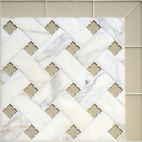 Fraser, a stone waterjet mosaic, shown in Calacatta Venetian honed and Raw Fiber glass flowers with honed Raw Fiber glass bricks, is part of the Altimetry&reg; Collection for New Ravenna.<br />