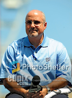 21 August 2009: Washington Nationals' newly appointed General Manager Mike Rizzo answers questions by the media after introducing Stephen Stausberg to the media during a televised event at Nationals Park in Washington, DC. The Nationals agreed to terms with Strasburg, the 2009 number one overall pick in this years' MLB Draft, with fewer than two minutes before the signing deadline. Mandatory Credit: Ed Wolfstein Photo