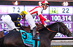 November 2, 2019: Bricks and Mortar, ridden by Irad Ortiz, Jr., wins the Longines Breeders' Cup Turf on Breeders' Cup World Championship Saturday at Santa Anita Park on November 2, 2019: in Arcadia, California. Bill Denver/Eclipse Sportswire/CSM