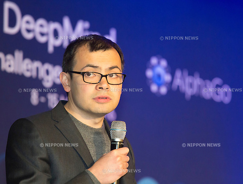 Demis Hassabis, Mar 12, 2016 : Demis Hassabis, CEO of the AlphaGo developer Google DeepMind attends a press conference after the third match of the Google DeepMind Challenge Match in Seoul, South Korea. South Korean Go master Lee Se-dol beat on Sunday AlphaGo, the artificial intelligence (AI) program made by Google's  DeepMind, for the first time at the fourth match during the special human-versus-computer Go tournament and the five-round Go tournament is now 3-1 as of March 14, 2016, local media reported. (Photo by Lee Jae-Won/AFLO) (SOUTH KOREA)