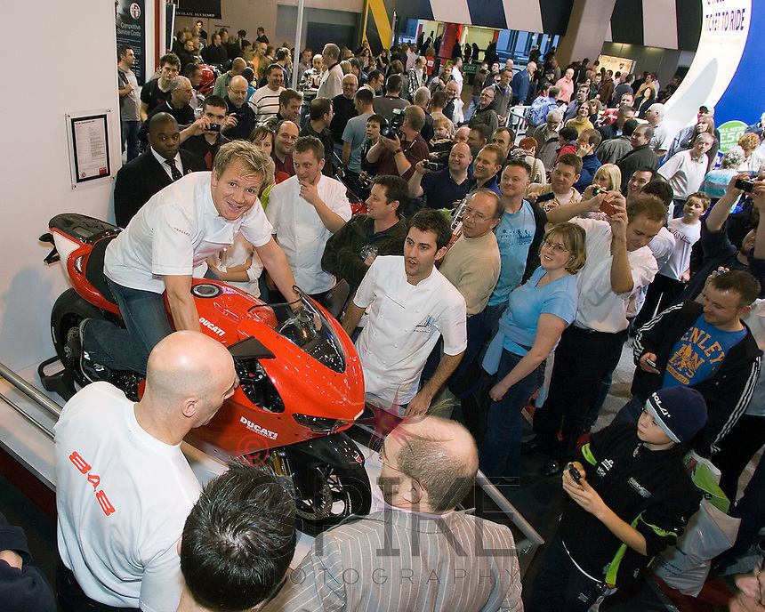 Chefs Gordon Ramsay and Mark Sergeant of Claridges at the NEC Bike Show