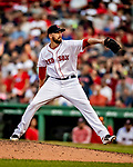 22 June 2019: Boston Red Sox pitcher Matt Barnes on the mound in the 8th inning against the Toronto Blue Jays at Fenway :Park in Boston, MA. The Blue Jays rallied to defeat the Red Sox 8-7 in the 2nd game of their 3-game series. Mandatory Credit: Ed Wolfstein Photo *** RAW (NEF) Image File Available ***