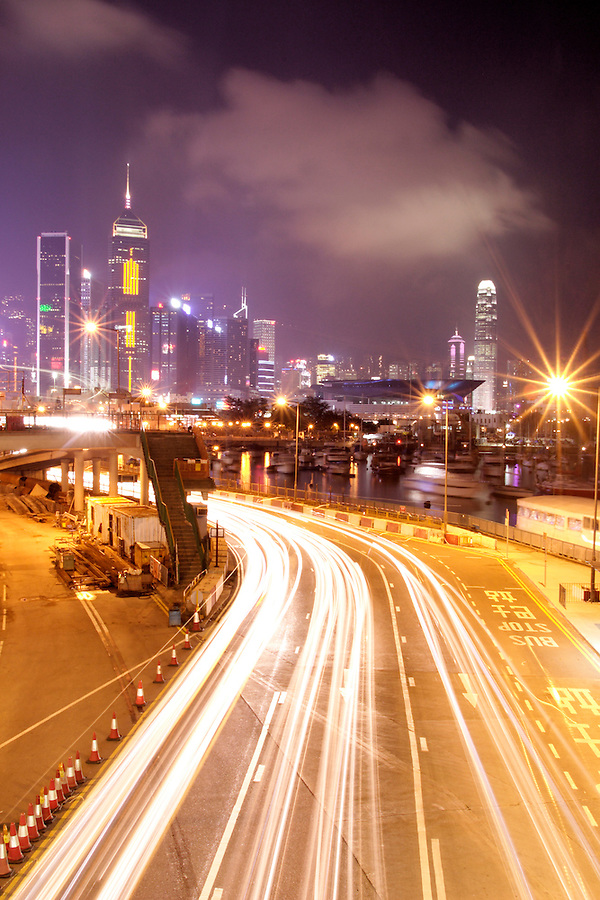 Hong Kong city skyline and flow of traffic at night, Hong Kong SAR, China, Asia