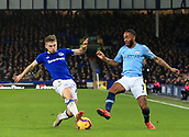 6th February 2019, Goodison Park, Liverpool, England; EPL Premier League Football, Everton versus Manchester City; Jonjoe Kenny of Everton tackles Raheem Sterling of Manchester City